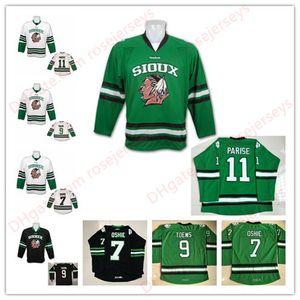 Dakota do Norte Lutando Sioux Falcões 11 Zach Parise 9 Jonathan Toews 7 TJ Oshie Branco Preto Verde Costurado Faculdade UND Hockey Jerseys S-3XL