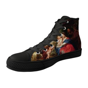 Vintage Style Men Shoes High Top Black Canvas Vulcanized Shoes For Male Lace-up Sneakers Myth Painting Print Peter Paul Rubens