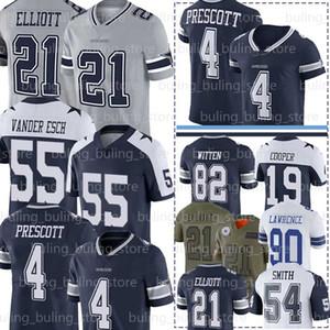 4 Dak Prescott Jersey 21 Ezekiel Elliott 55 Leighton Vander Esch 19 Amari Cooper Jaylon Smith DeMarcus Lawrence Sean Lee Football Maillots