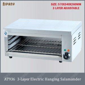 AT936 de 3 capas salamandra eléctrica de acero inoxidable parrilla salamandra colgante comercial máquina de elevación horno