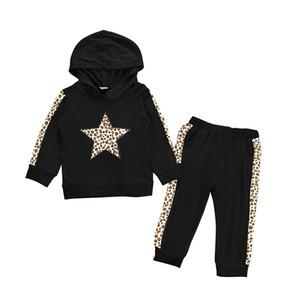 Niños leopardo juegos de los hoodies de los bebés estrella de empalme de deporte para niños Casual muchachos de la ropa con capucha suéter Pantalones Conjuntos niño de la ropa de sport 06