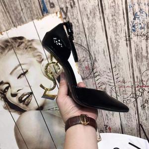 Diseñador de alta calidad de las mujeres Sandalias de tacón de colores Top T-strap Bombas de tacón alto Damas de charol Letras únicas Zapatos de vestir de tacón de 11 cm