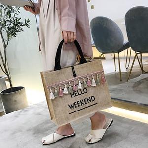 Capacidad grande del verano de lino de la borla del bolso del diseño simple de la bolsa de asas para las mujeres de compras reutilizable de hombro bolsa de viaje de Playa 2019