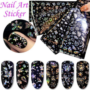 4pcs / set Nail Art Stickers Chaud Transfert Feuille Noël Flocon De Neige Feuille Fleur Star Fleur DIY Ongles Art Stickers HHA288