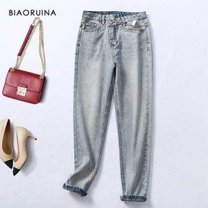 BIAORUINA Women's Retro Design High Waist Single Button Washing Loose Denim Jeans Bleached Casual Pencil Jeans for Women