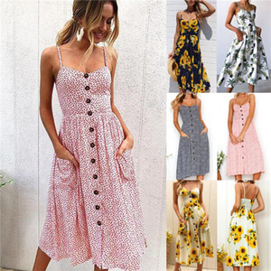 Designer Womens Dress Fashion Printed Sleeveless Dress Casual Womens Dresses
