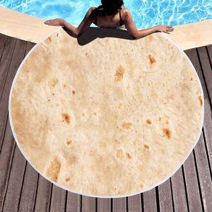 Round Pancake Serviette de plage Tapis de yoga Polyester Couverture mexicaine Rouleau Nappe Shawl Wrap Microfibre Serviette de bain Pique-nique Tapis Tapisserie VT1779