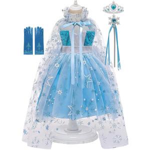 Kız bebekler Snow Queen 2 Prenses Giydirme Yaz Kolsuz Elbise ile Snowflake'e İçin MUABABY Bebek Kostümleri pelerini yazdır