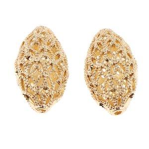 2 Stück Gold mit Filigran geschmückt Hohlkugeln, Ball / Oval Spacer loser Korn-Anhänger für DIY Schmucksachen Ohrring, die Entdeckungen