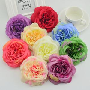 artificielle 100pcs fleurs rose 11cm décorations de Noël pour les fleurs scrapbooking couronne de mariage de la maison soie diy pivoines Peinture