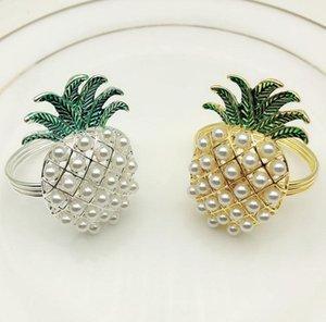 or argent ananas avec perles anneau de serviette mariage décoration de vacances famille famille chandelles dîner porte-serviette SN3636