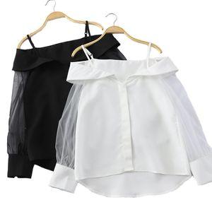 2019 Donne Camicette a righe con spalline larghe Allentare Top Camicette da donna a maniche lunghe e top donna coreana