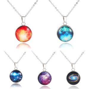 Nebula pendente Double-sided Gioielli Sistema Solare pietra preziosa tempo ciondolo stella Cielo Spazio Universo collana Milky Way Jewelry per le donne gli uomini