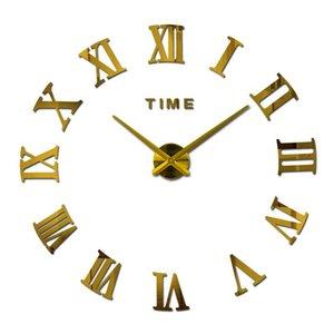 Hot sale real large home decorative wall clocks quartz modern design wall clock watch horloge 3d diy acrylic mirror stickers Y200109
