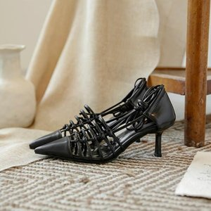 luxury Sexy Women high heels Ankle Strap Sandals Cut-Outs Genuine Leather party wedding dress shoes designer fashion Street Photo Sandals