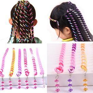 Enfiler des perles Bigoudi arc-en-bâton enfants bricolage bigoudis couleur bobine spirale cheveux accessoires diadèmes fille galon galon bâton de curling