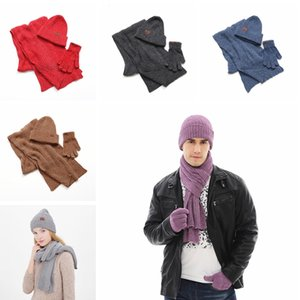 Fashion Unisex Scarf Glove Sets Causal Winter Knitted Beanie Hats Men Ourdoor Warm Gloves Woman Classic Winter Scarf TTA1631
