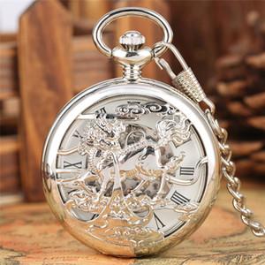 Vintage Gümüş Pocket Saat Hollow Out Vaka Kirin Tasarım Handwind Mekanik Saatler İskelet Roma Numarası Timepiece kolye FOB Zincir Dial