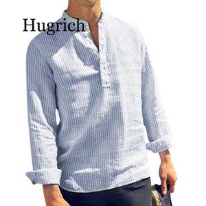 Men's Casual Shirts 2021 Spring Summer Long Sleeve Shirt Men Solid Striped Collar Cotton Linen Mens