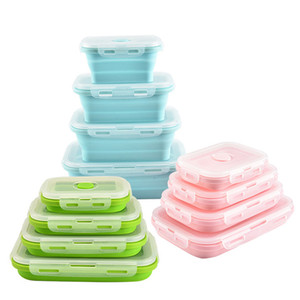 500 ML Silicone Pliable Lunch Box Conteneur De Stockage Des Aliments Bento BPA Libre Micro-ondable Portable Pique-Nique Camping Rectangle En Plein Air Boîte