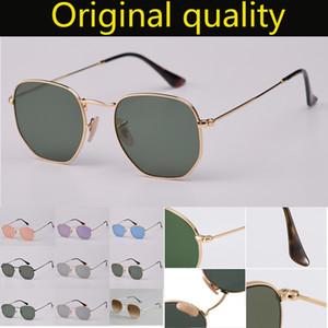 최고 품질 3548 디자이너 브랜드 라운드 금속 가죽 케이스 남자 여성을위한 남성 여성 선글라스 육각 실제 G15 유리 렌즈 선글라스