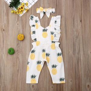 Vêtements bébé fille Emmababy nouveau-né Sleevless Ruffle ananas Imprimer Romper Jumpsuit Bandeau 2Pcs Tenues Vêtements d'été