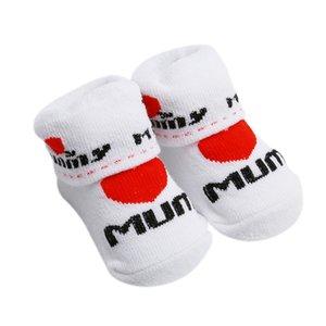 100% Cotton Babysocken Gummi rutschfeste Fußboden-Socken Liebe Dad Liebe-Mamma-Karikatur-Kind-Socken