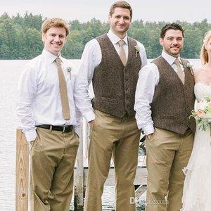 Dark Brown Wool Groom Vests 2020 Farm Wedding Party Attire Groomsmen Team Vest Slim Fit Men's Dress Suit Prom Garden Country Waistcoat