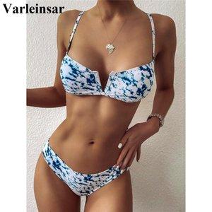 2020 New V-Bra Tie Dye Bikini Female Swimsuit Women Swimwear Two-pieces Bikini set Mid Waist Bather Bathing Suit Swim Lady V2278