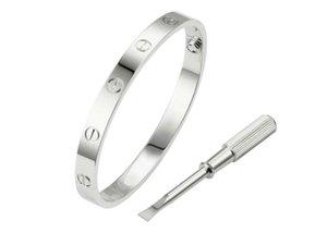 brazalete de acero amor joyas de diseño de lujo para hombre pulseras de las mujeres del brazalete de oro de titanio enchapado en oro de hardware clásico nunca se desvanecen No alérgica