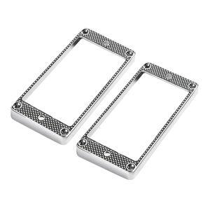 2 Stück Humbucker Pickup Ring Gebogene Rahmen für LP-E-Gitarren-Teile, Silber