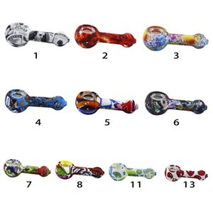 DHL Silicone Hand Pipe with glass bowl water transfer printing pipe random color Silicone dab rig Hookah Bongs glass bowl dab tool