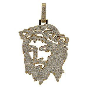 Solid Back Iced Out JESUS Cristo Piece Head Face Pendenti Collane Hip Hop Catena in argento oro per uomo donna gioielli
