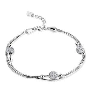 Mão Jóias de 16,5 centímetros de prata Sterling S925 Bracelet Mulheres Moda S925 Feminino ajustável pulseira atacado com caixa