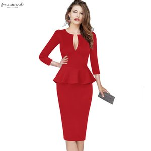 Womens Sexy Deep V Neck Elegant Autumn Peplum Vintage Slim Casual Cocktail Party Fitted Sheath Pencil Bodycon Dress 1039
