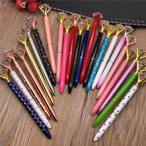 19 Colors Creative Crystal Glass Kawaii Ballpoint Pen Girl Lady Ring Big Gem Ball Pen With Large Diamond Fashion School Office Supply
