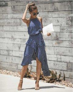 Casual 2020Sleeveless cintura alta vestido do verão 2019 Dot Imprimir Mulheres Ruffles vestido solto elegante ata acima Mulheres Roupa Sexy Vestidos Y19012201