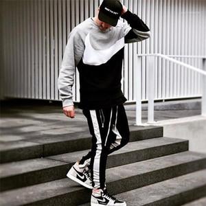 Magro Teengers Hiphop Street Style Cordão Calças Sexo Masculino moda casual roupa Homens Painéis listrado Zipper Pencil Sport calças Designer