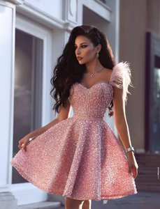 Newest New Luxury Pearls Pink Short Homecoming Dresses Arabic Dubai Style A Line Sweetheart Knee Length Cocktail Prom Gowns