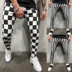 Hirigin Yeni erkek Yaz Moda Ince Rahat Çizgili Ekose Siyah Beyaz Rahat Kalem Pantolon Erkek Giysileri