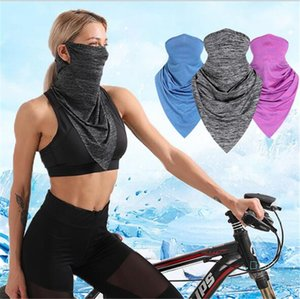 Quick Dry Cycling Scarf Summer Cool Ice Silk Half Face Masks Sun-proof Unisex Multifunction Triangular Bandage Outdoor Hat Wrist Guard LY514