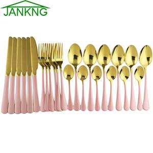 24X Oro Rosa tavola Specchio Posate Coltello da cucina forcella del cucchiaio Insieme di pranzo acciaio inox 304 da tavola Argenteria placcato da tavola