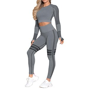 Seamless Workout Clothes for Women Long Sleeve Yoga Set Femme High Waist Belly Control Sport Set Gym Clothes Seamless Sport Suit