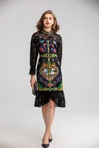 Европейская бренд мода весны T-этап ретро женщины платья элегантного цветок печать Кружево Группа волан Русалка платье партии