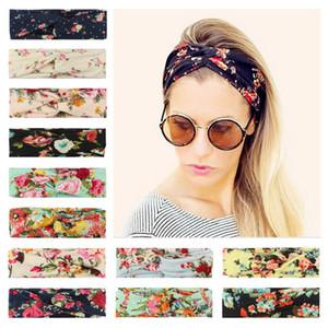 Bandas de pelo de las muchachas mujeres florales Pequeña Flor Cruz-anudada banda para el cabello adolescentes Headwear señora Printed Diademas 06