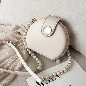Elegant Female Round Bag 2020 Summer New Quality PU Leather Women's Designer Handbag Pearl Chain Shoulder Messenger Purses bags