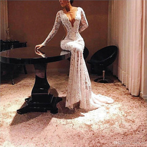 Completa Lace Prom Dresses Sexy Ilusão lantejoulas sereia vestidos de noite 2020 Cutaway Sides mangas compridas Formal vestido de festa