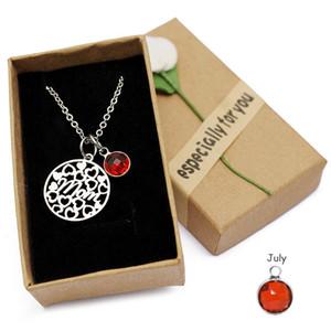 2019 amour coeur maman collier cristal pierre de naissance pendentif collier en acier inoxydable chaîne charme cadeaux d'anniversaire de fête des mères pour maman