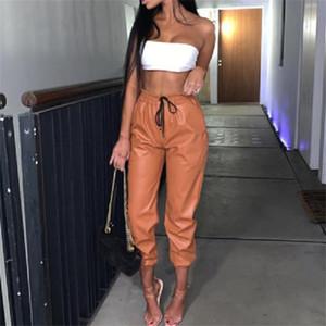 Новый PU кожа женщин сексуальный шаровары вскользь высокая талия Упругие Кожезаменитель Брюки женские осенние Брюки Streetwear