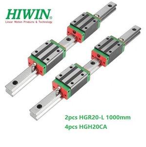 2pcs Original New HIWIN HGR20 - 1000mm linear guide rail + 4pcs HGH20CA linear narrow blocks for cnc router parts
